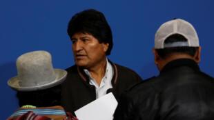 Le président bolivien Evo Morales après l'annonce de sa démission, le 10 novembre 2019.