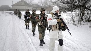 Украинские военные под Луганском, 28 января 2015 г.