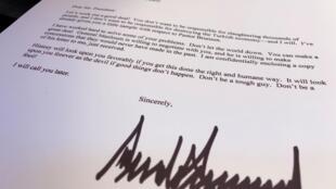 Lá thư đề ngày 09/10/2019 của tổng thống Mỹ Donald Trump gởi cho đồng nhiệm Thổ Nhĩ Kỳ, được Nhà Trắng tiết lộ hôm 16/10/2019.