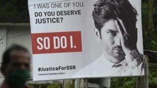 Panneau d'affichage pour la campagne demandant justice après le suicide de l'acteur indien Sushant Singh Rajput, à Bombay le 28 septembre 2020.
