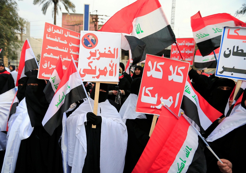 طرفداران مقتدی صدر در تظاهرات ضد آمریکایی بغداد