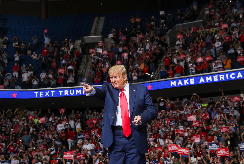 Tổng thống Mỹ Donald Trump trong cuộc mít-tinh vận động tranh cử tại Tulsa, Oklahoma, Mỹ, ngày 20/06/2020