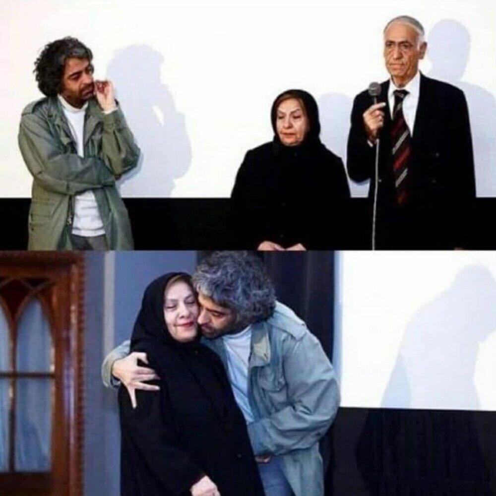 بابک خرمدین کارگردان سینما در کنار پدر و مادرش . این تصویر سال ۹۴ در مراسم افتتاحیه فیلم «سوگنامه ای برای یاشار» در موزه سینما ثبت شده است