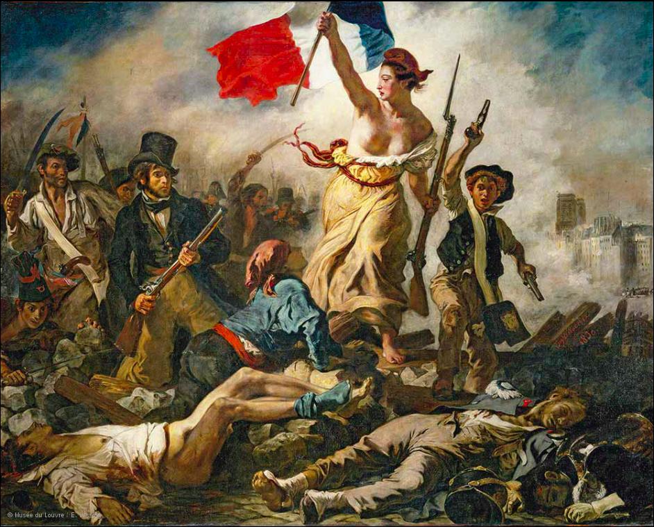 """""""La libertad guiando al pueblo"""", Eugène Delacroix, 1830."""