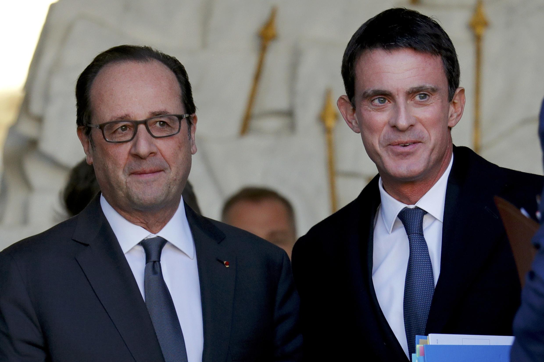 O presidente francês, François Hollande, e o primeiro-ministro Manuel Valls, no dia 30 de novembro no Palácio do Eliseu.