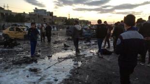 Un attentat à la voiture piégée, revendiqué par le groupe Etat islamique, a fait 45 morts dans le quartier chiite de Bayaa, dans le sud de Bagad, en Irak, le 16 février 2017.