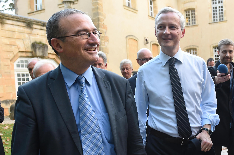 Hervé Mariton (à gauche) et Bruno Le Maire, candidats à la présidence de l'UMP.