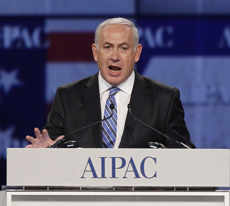 El primer ministro israelí Benjamin Netanyahu en la tribuna de la AIPAC, el 23 de mayo de 2011.