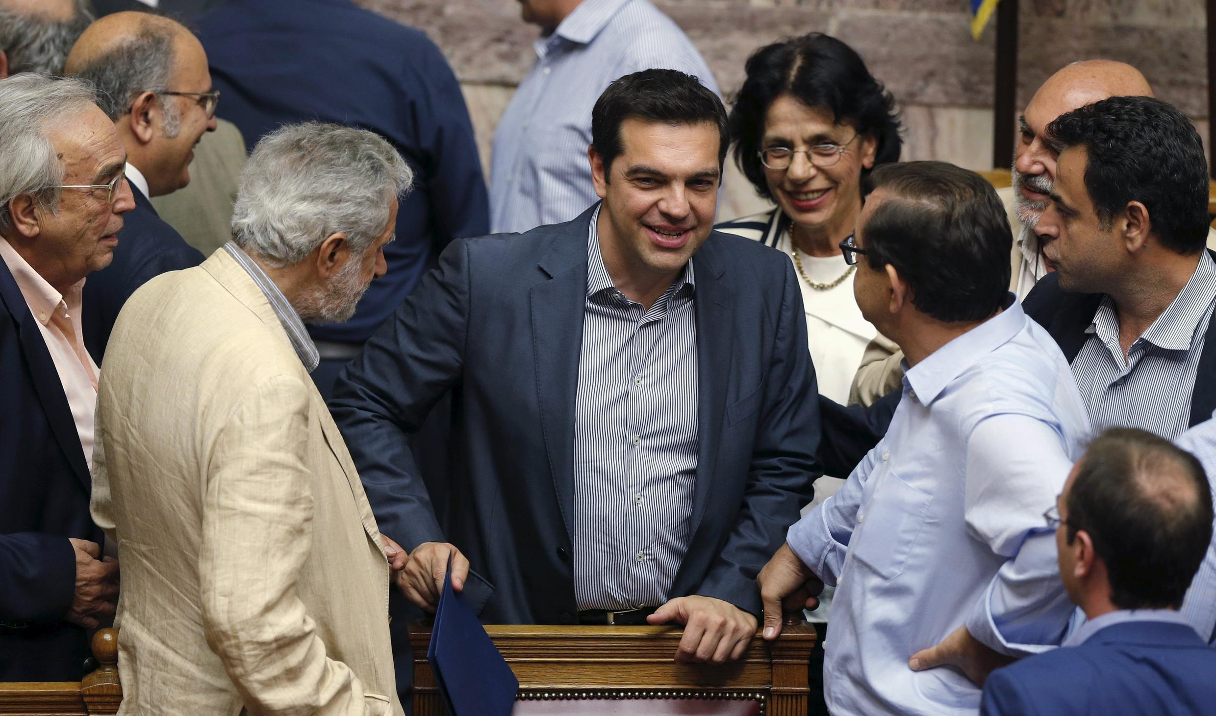 Greek Prime Minister Alexis Tsipras in parliament