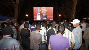 Des Algériens assistent à la transmission du discours du président, le 15 avril 2011.