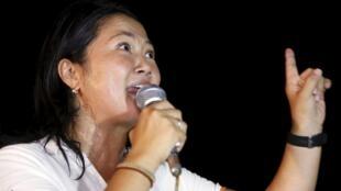 Keiko Fujimori durante un acto de campaña, el pasado 23 de marzo en la periferia de Lima.
