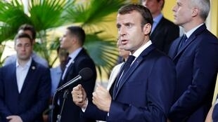 French President Emmanuel Macron delivers a speech on September 27, 2018, at the prefecture of Fort-de-France on the French Caribbean island of Martinique, as part of a four-day visit to the French Antilles.