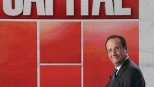 O presidente francês François Hollande durante entrevista a um programa de televisão.