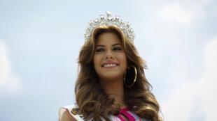 Mariana Jimenez élue Miss Venezuela 2014, en conférence de presse, le 10 octobre 2014 à Caracas.