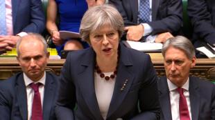 Thủ tướng Anh Theresa May phát biểu trước Quốc Hội, ngày 14/03/2018.