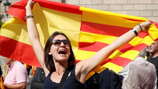 Pro-independence protester in Barcelona, Catalonia, Spain.