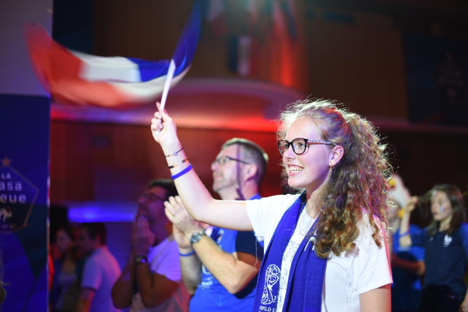 Болельщики французской сборной в Москве, 15 июля 2018.