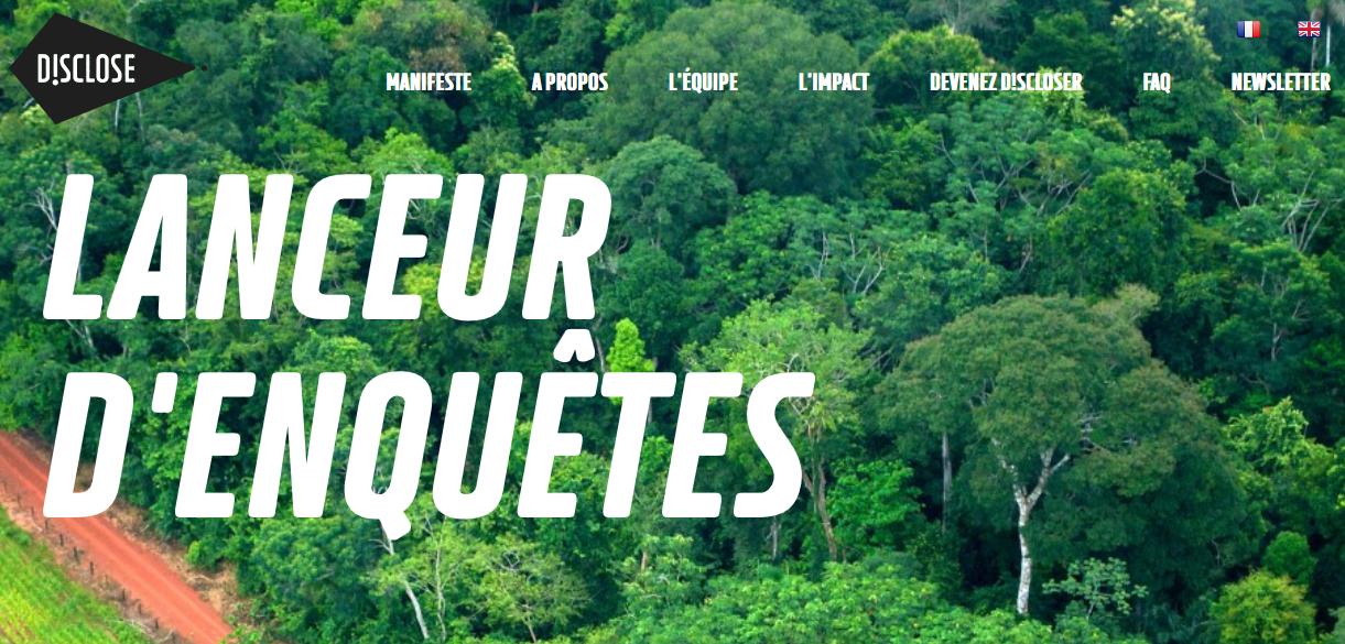 Capture d'écran du site Disclose.ngo.