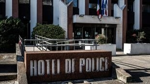 A picture taken on February 13, 2018 in Lyon shows the entrance of Lyon police headquarter as a father and his daughter were taken into custody, four days after they reported being the victims of a heist.