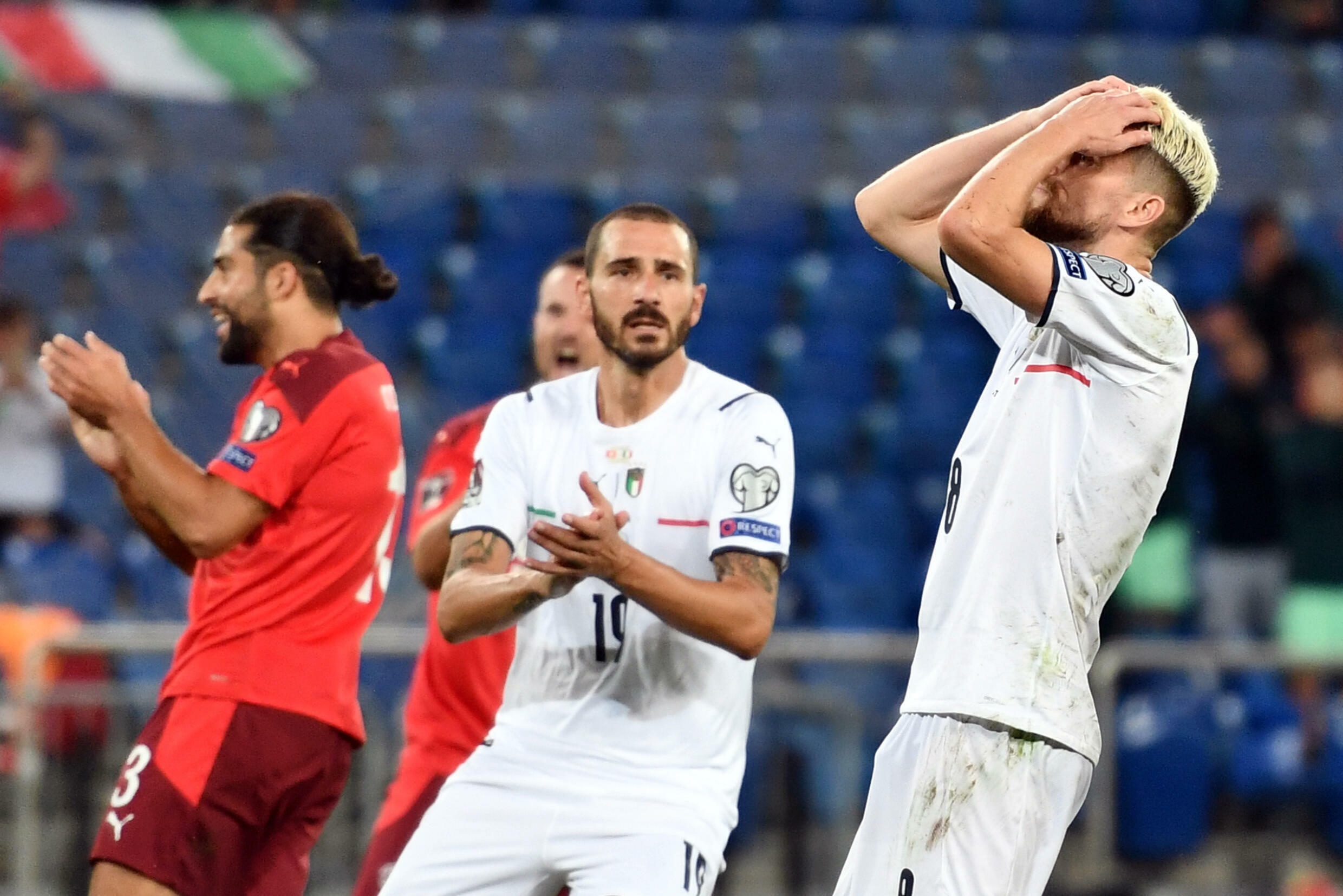 Jorginho (R) missed a penalty but Italy set a new record for longest unbeaten run