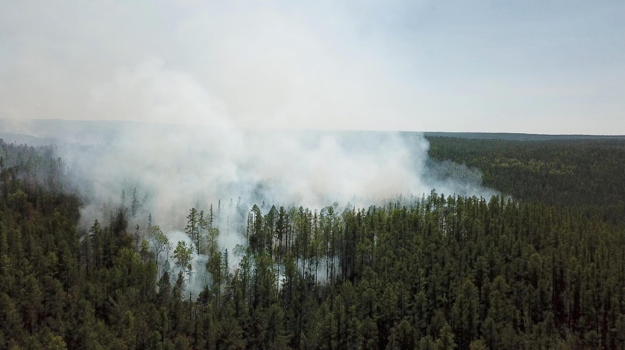 Vista aérea dos incêndios que atingem a região de Krasnoyarsk na Rússie, em 10 de julho de 2020.