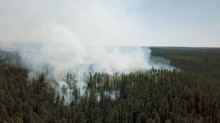 Une vue aérienne des incendies qui ravagent la région de Krasnoyarsk en Russie, le 10 juillet 2020.