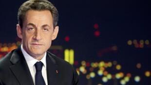 Nicolas Sarkozy à TF1, lors de l'annonce de sa candidature au poste de président de la République.