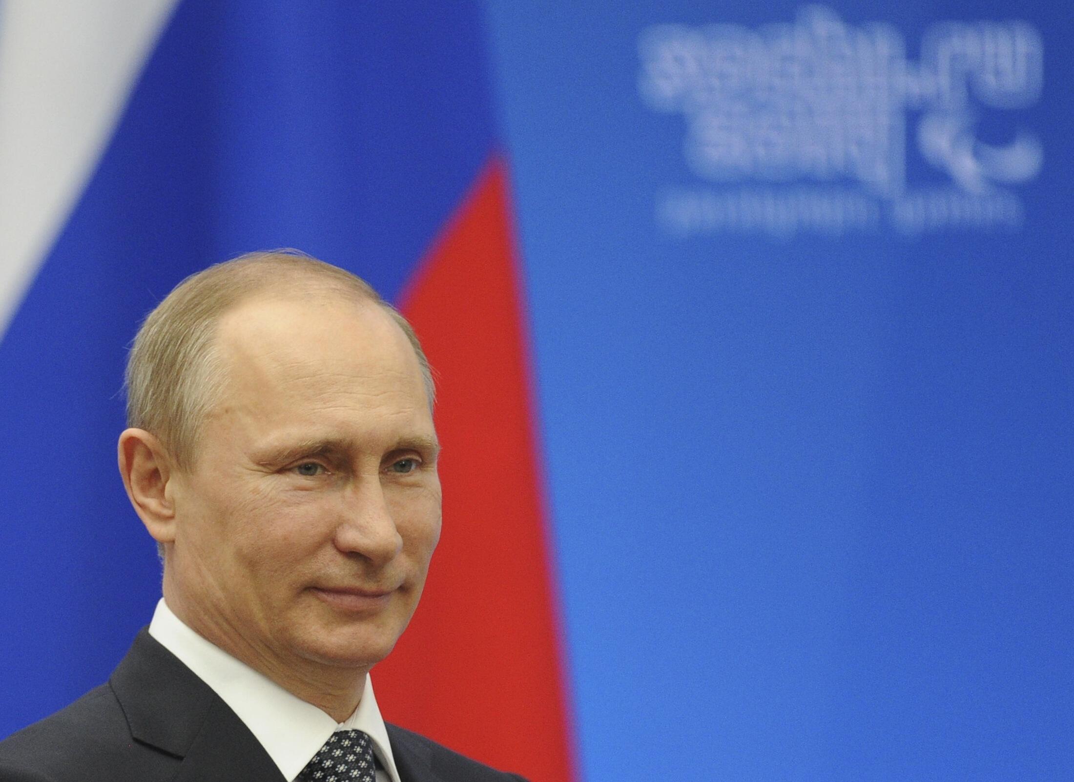 Tổng thông Nga Putin rát hài lòng về kết quả trưng cầu dân ý ở Crimée. Ảnh chụp ngày 17/03/2014.
