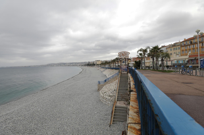 La promenade des Anglais à Nice est restée fermée tout le week-end. Samedi 27 février 2021.