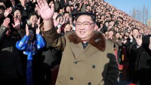 图为朝鲜领袖金正恩2018年12月28日出席朝鲜第四届农业大会