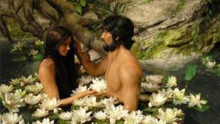 Adam et Eve au Creation Museum de Petersburg, dans le Kentucky aux Etats-Unis.