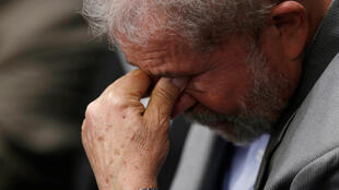 L'ex-président brésilien Luiz Inacio Lula da Silva, pendant un discours de Dilma Rousseff.
