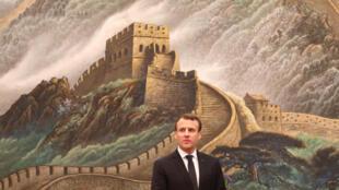 Le président de la République française Emmanuel Macron à Pékin ce mardi 9 janvier 2018.