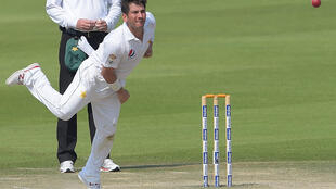 Pakistani spinner Yasir Shah in action against the West Indies in the second test match on Tuesday.
