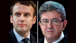 O líder do partido França Insubmissa, Jean-Luc Mélenchon (à direita), criticou a decisão de Macron (à esquerda) de bombardear alvos militares da Síria.