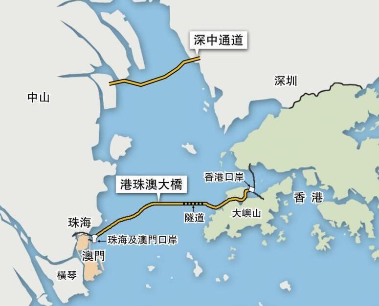 連接三地的港珠澳大橋示意圖(網上資料)