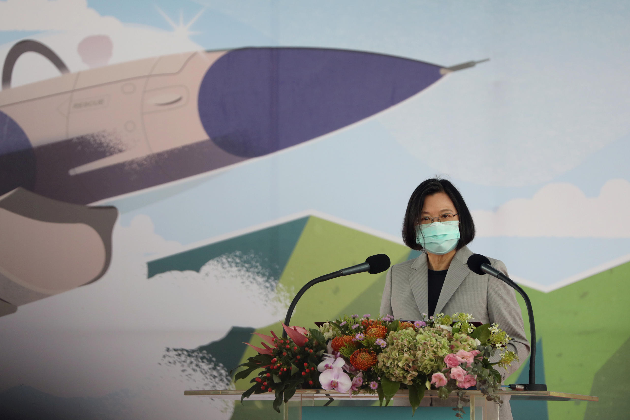 Taiwan President Tsai Ing-wen attends an inauguration ceremony of a maintenance centre for F-16 fighter jets, in Taichung, Taiwan August 28, 2020