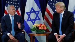 Donald Trump e Benyamin Netanyahu no 26 de Setembro de 2018 em Nova Iorque.