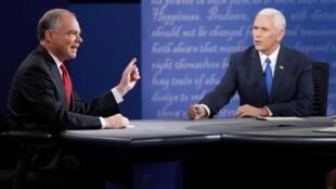 O democrata Tim Kaine e o republicano Mike Pence, no debate televisivo de 4/10/2016