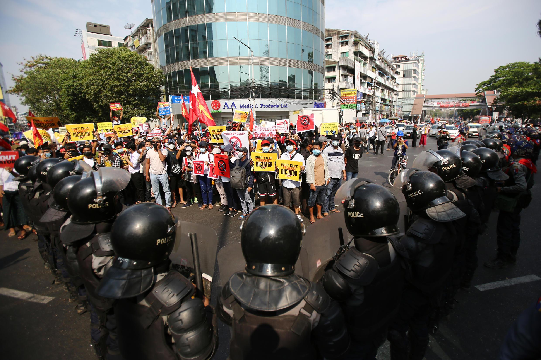 Birmanie - Rangoun - Manifestation
