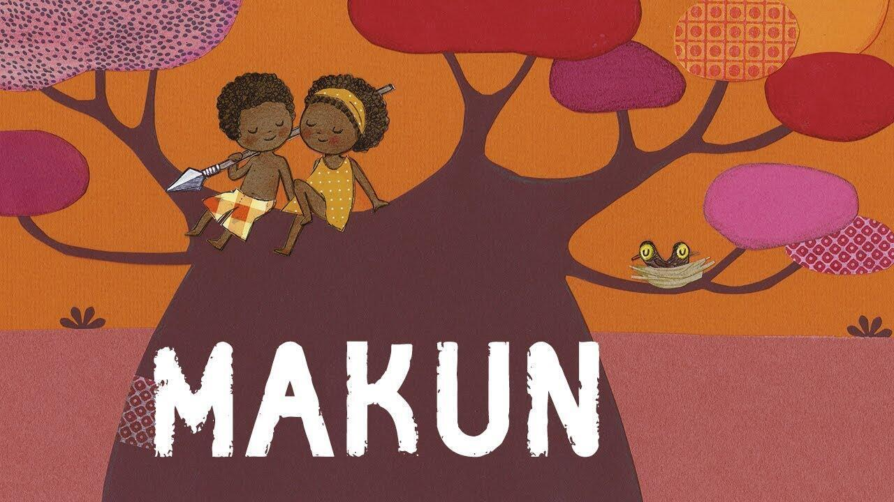 Makun, une berceuse en bambara, illustrée par Cécile Hudrisier. Il s'agit d'une copie d'écran d'une vidéo référencée par Stéphie-Rose Nyot Nyot.