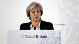 Theresa May durante su discurso, este 17 de enero de 2017 en Londres.