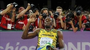 Usain Bolt after winning the men's 200 metres final