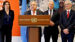 Le secrétaire général de l'ONU, Antonio Guterres, le 3 avril 2018 à Genève, en Suisse, pour une conférence des donateurs sur le Yémen.