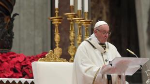 Le pape François lors de la messe de Noël du 24 décembre 2018.