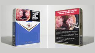 Maço de cigarro estampa campanha preventiva contra o câncer de pulmão.