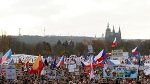 Manifestation à Prague, en République Tchèque, le 16 novembre 2019.