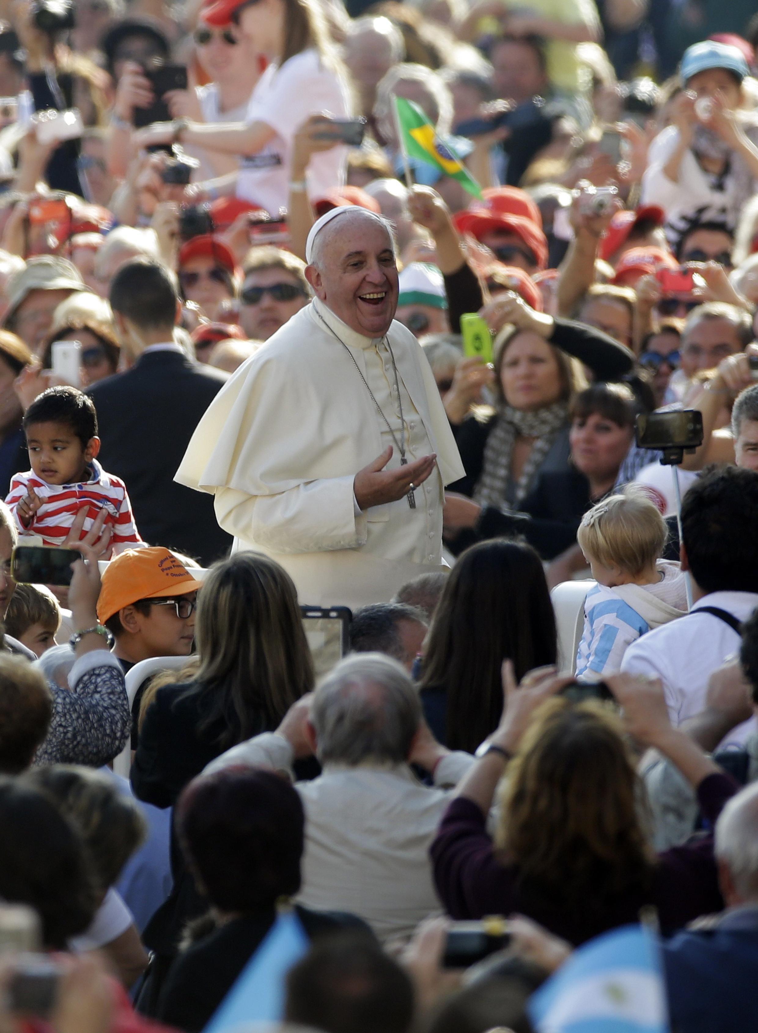 O Papa Francisco na praça São Pedro, no Vaticano, 8 de outubro de 2014.