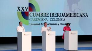 El presidente colombiano, Juan Manuel Santos, en la XXV Cumbre Iberoamericana. Cartagena, Colombia el 29 de octubre de 2016.