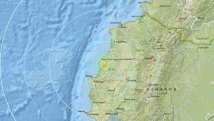 El epicentro del terremoto, en Ecuador.